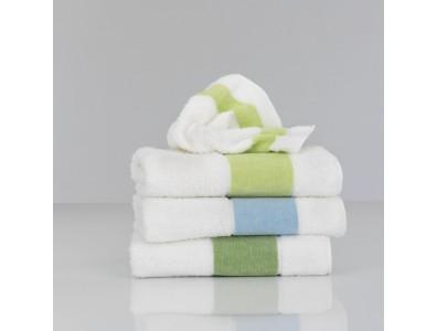 Feiler Baumwollhandtücher mit  Chenillebordüre Grün