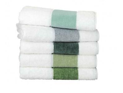 Feiler Baumwollhandtücher mit Chenillebordüre Dunkelgrün