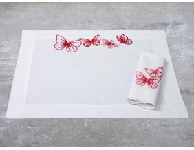 Baumwollserviette und Tischset Schmetterlinge