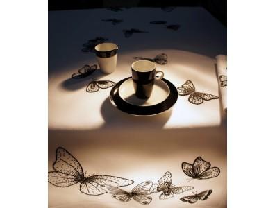 Leinenserviette und Tischset Schmetterlinge schwarz
