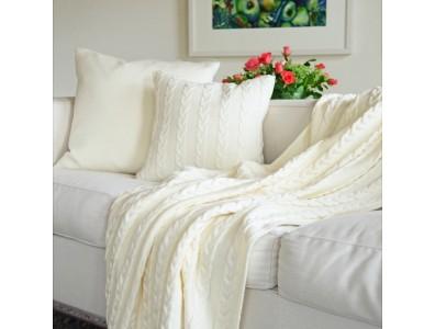 Decke Merinowolle Weiß