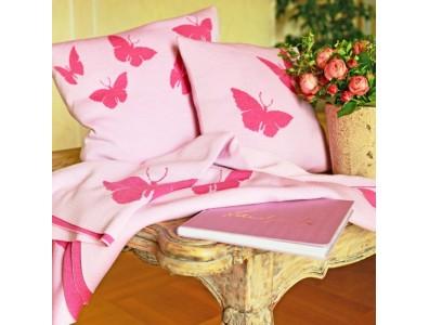 Decke und Kissen Merinowolle Schmetterlinge  Pink